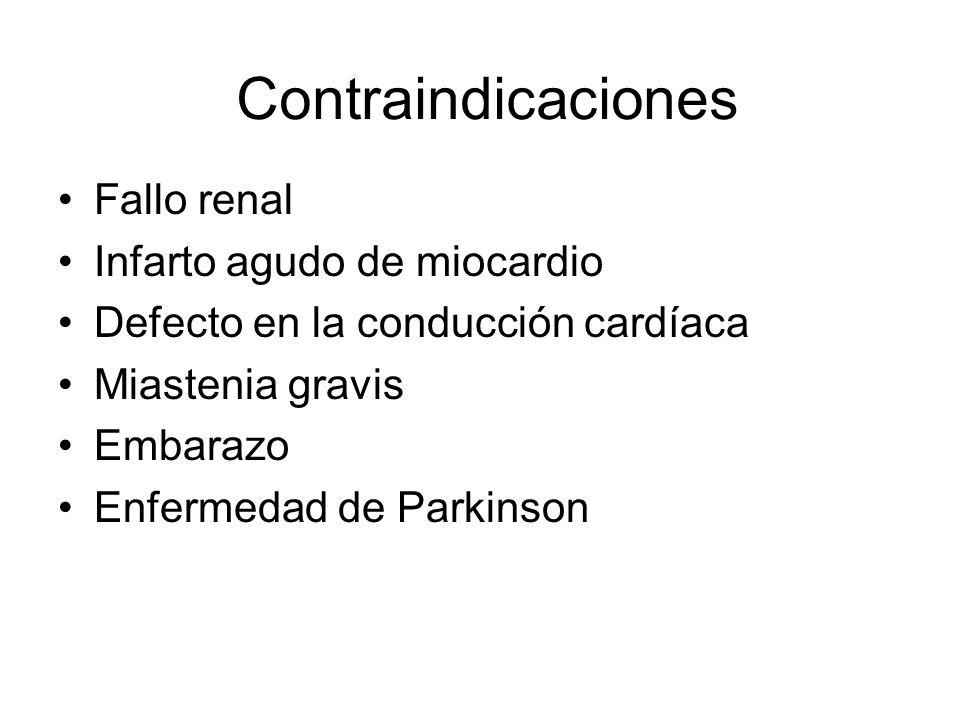 Contraindicaciones Fallo renal Infarto agudo de miocardio