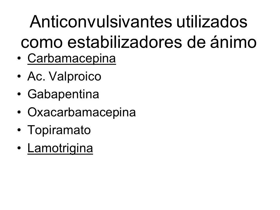 Anticonvulsivantes utilizados como estabilizadores de ánimo