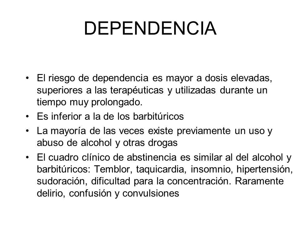 DEPENDENCIA El riesgo de dependencia es mayor a dosis elevadas, superiores a las terapéuticas y utilizadas durante un tiempo muy prolongado.