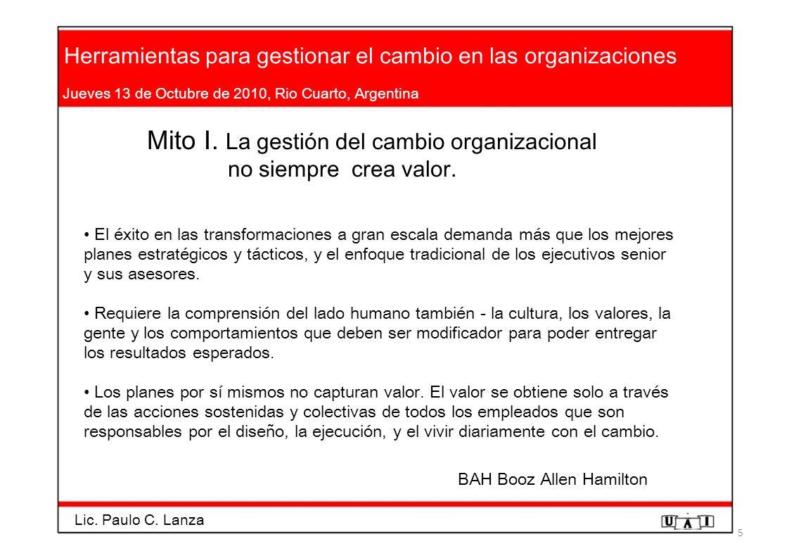 Mito I. La gestión del cambio organizacional