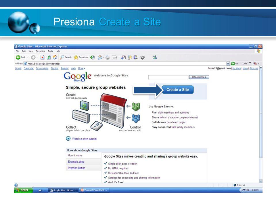 Presiona Create a Site