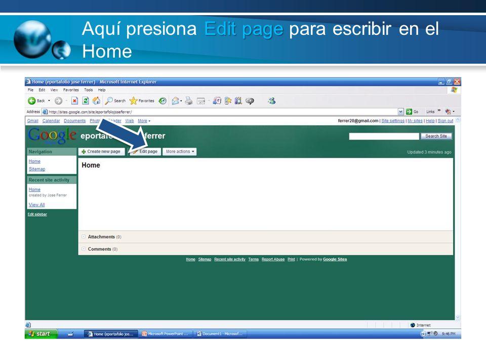 Aquí presiona Edit page para escribir en el Home