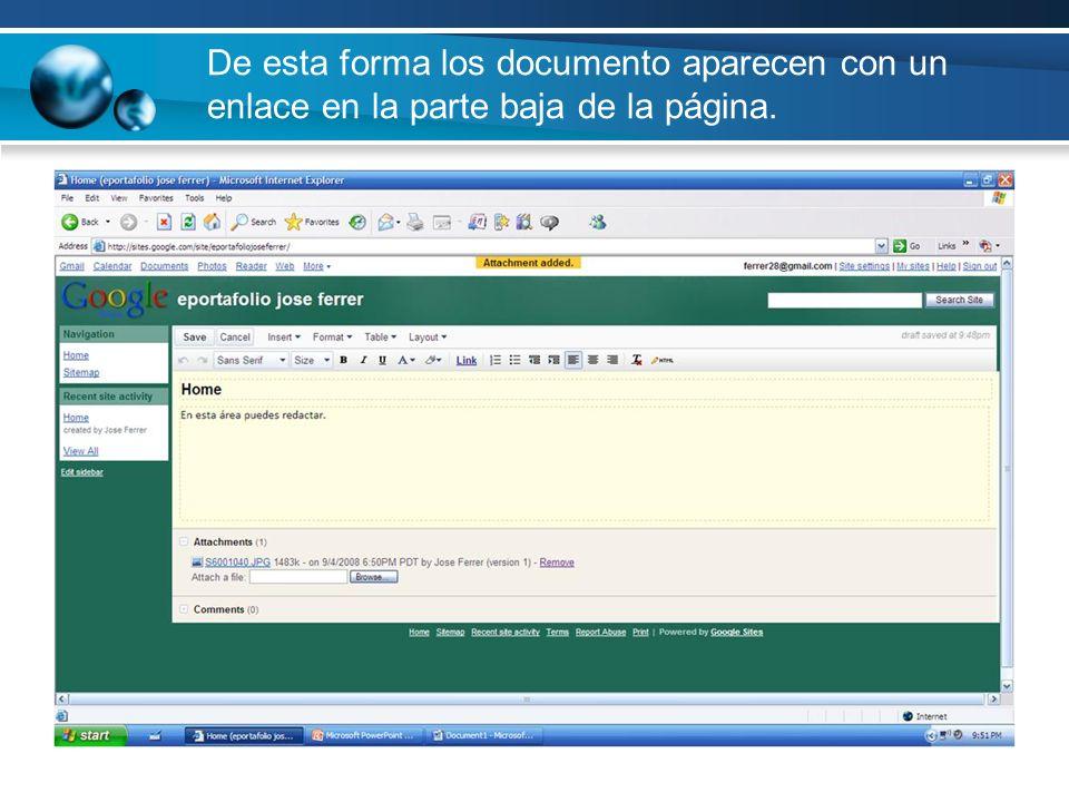 De esta forma los documento aparecen con un enlace en la parte baja de la página.