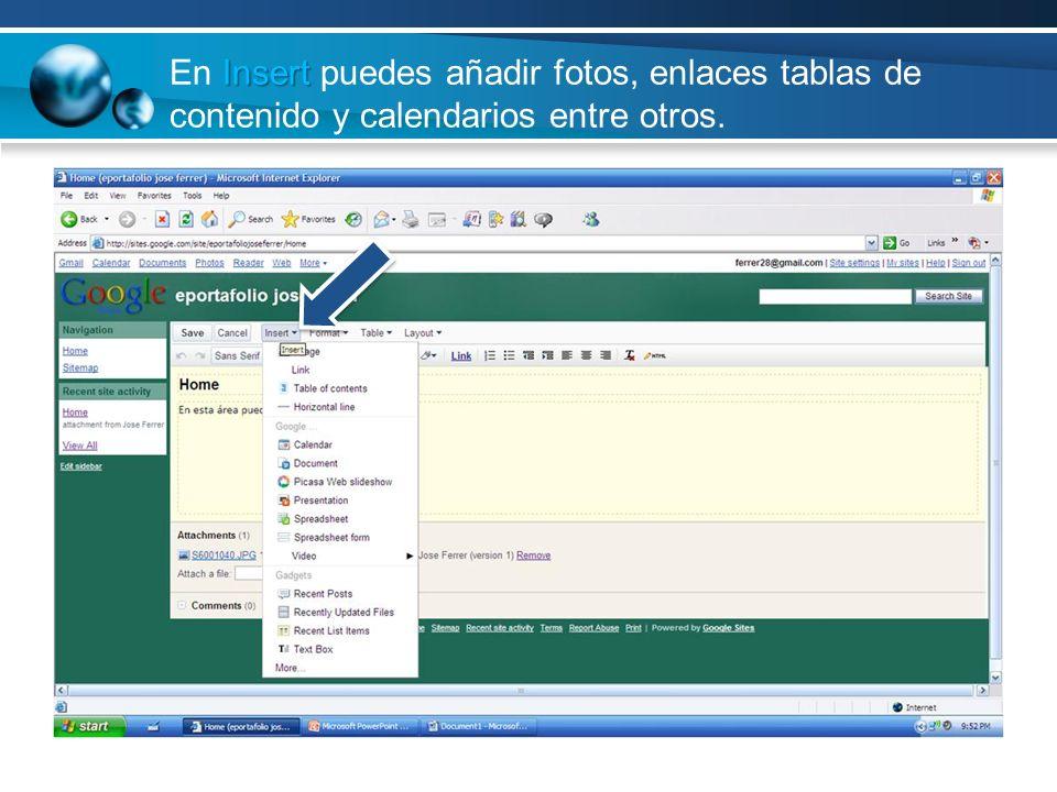 En Insert puedes añadir fotos, enlaces tablas de contenido y calendarios entre otros.