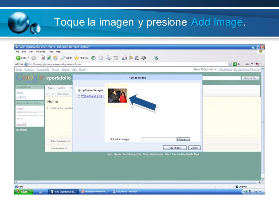 Toque la imagen y presione Add Image.