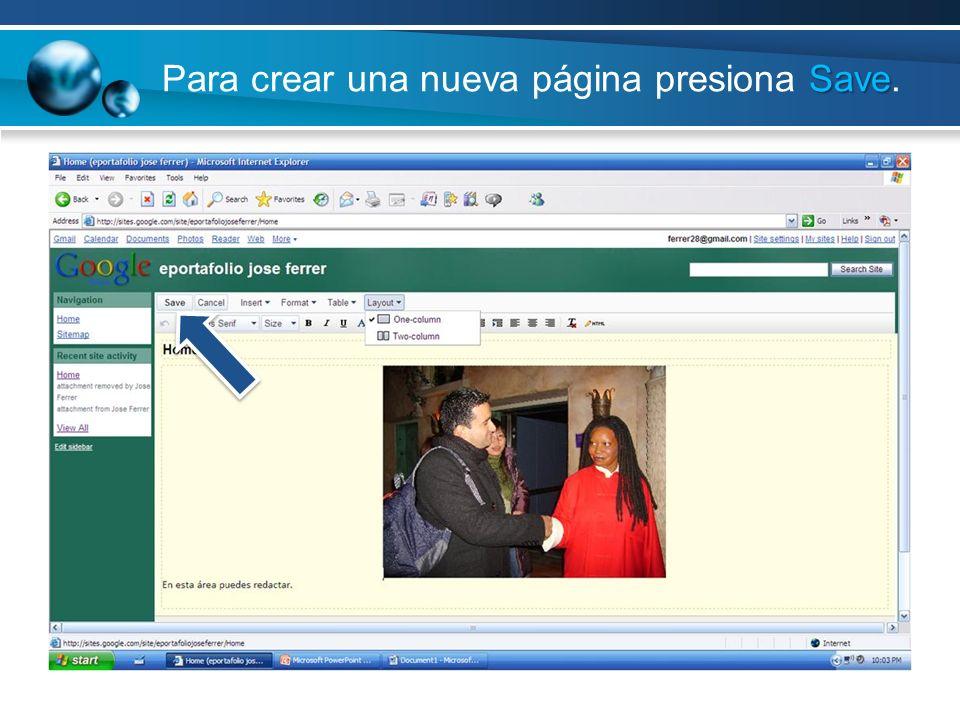 Para crear una nueva página presiona Save.