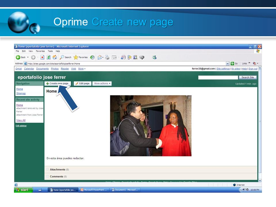 Oprime Create new page