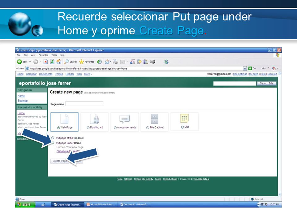 Recuerde seleccionar Put page under Home y oprime Create Page.