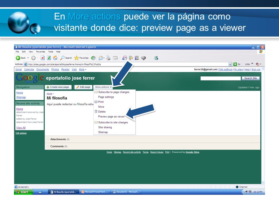 En More actions puede ver la página como visitante donde dice: preview page as a viewer