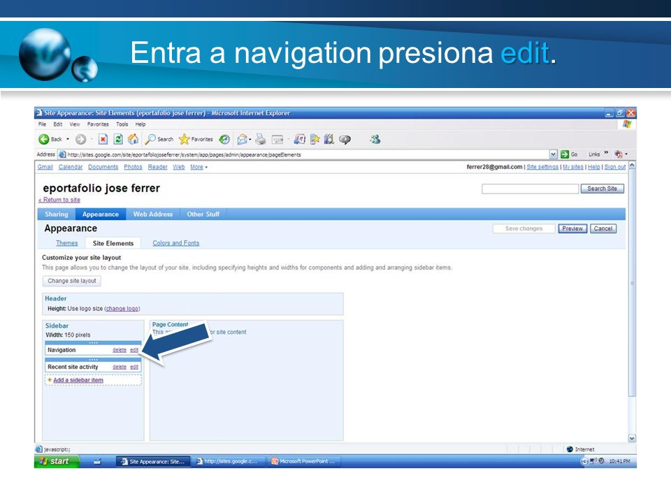 Entra a navigation presiona edit.