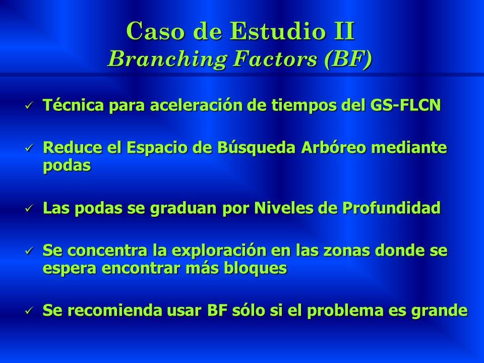 Caso de Estudio II Branching Factors (BF)