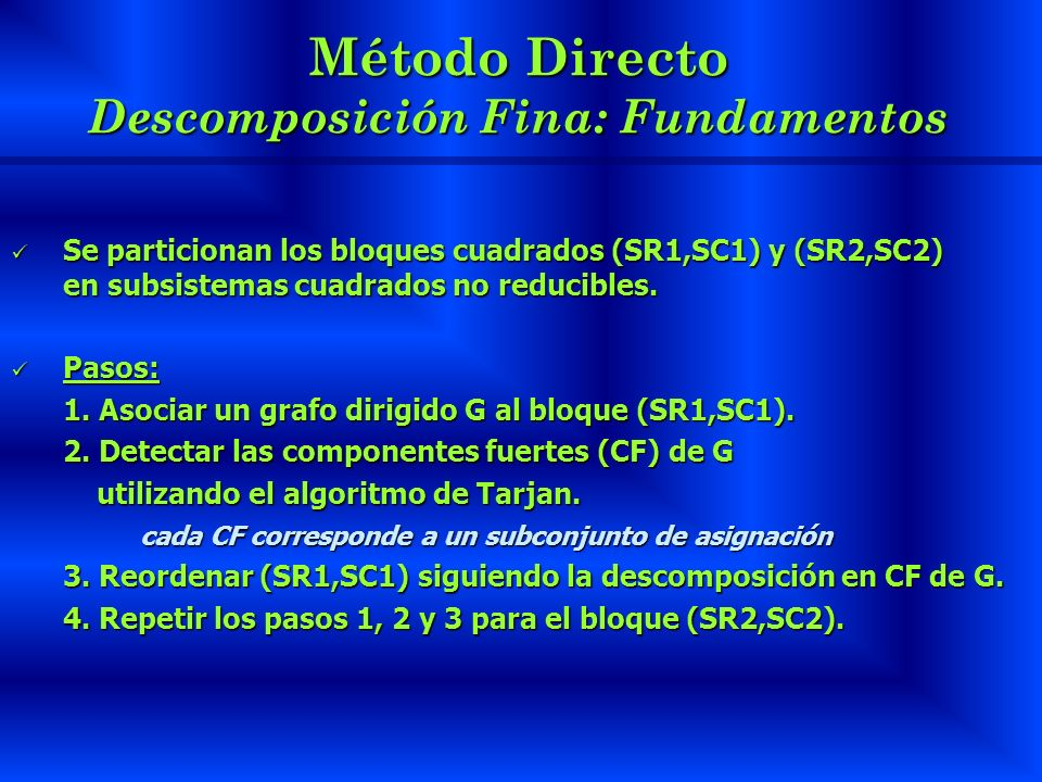 Método Directo Descomposición Fina: Fundamentos