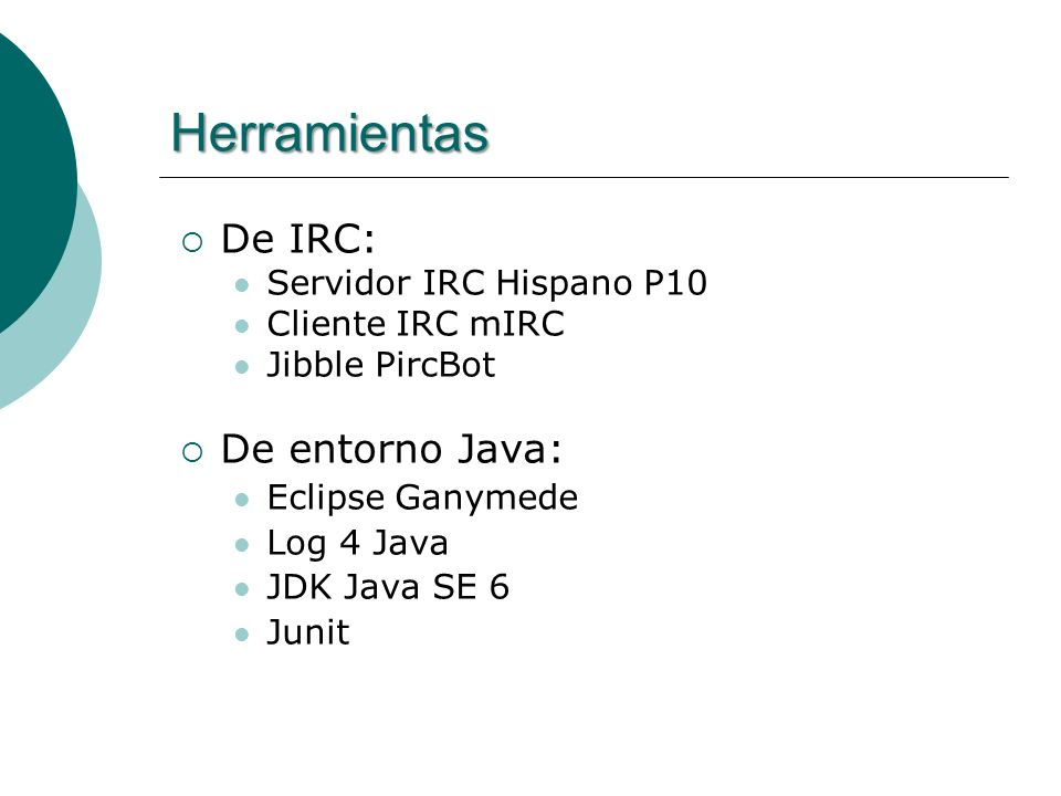 Herramientas De IRC: De entorno Java: Servidor IRC Hispano P10