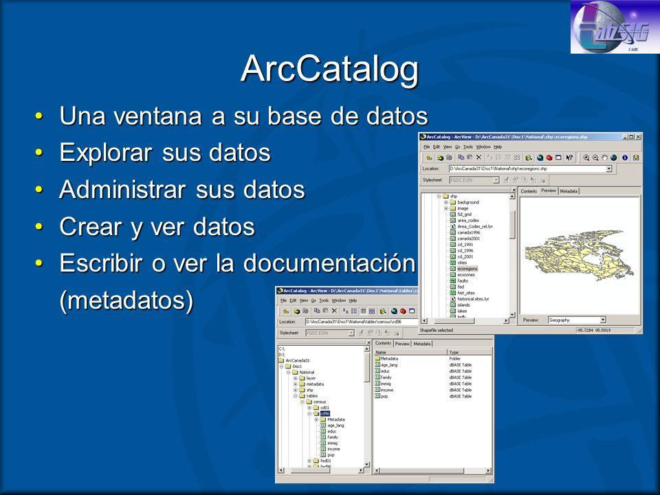 ArcCatalog Una ventana a su base de datos Explorar sus datos