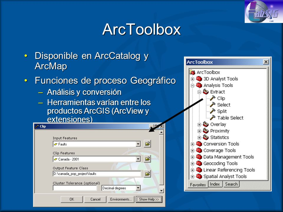 ArcToolbox Disponible en ArcCatalog y ArcMap