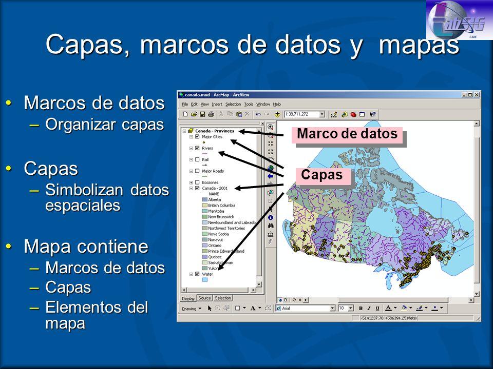 Capas, marcos de datos y mapas