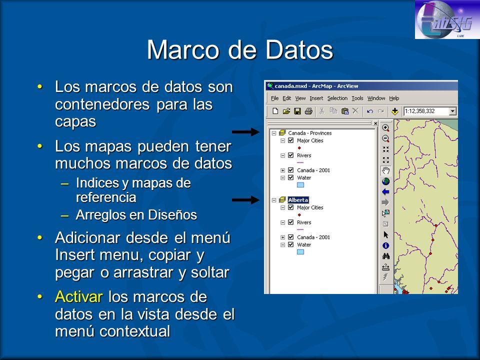 Marco de Datos Los marcos de datos son contenedores para las capas