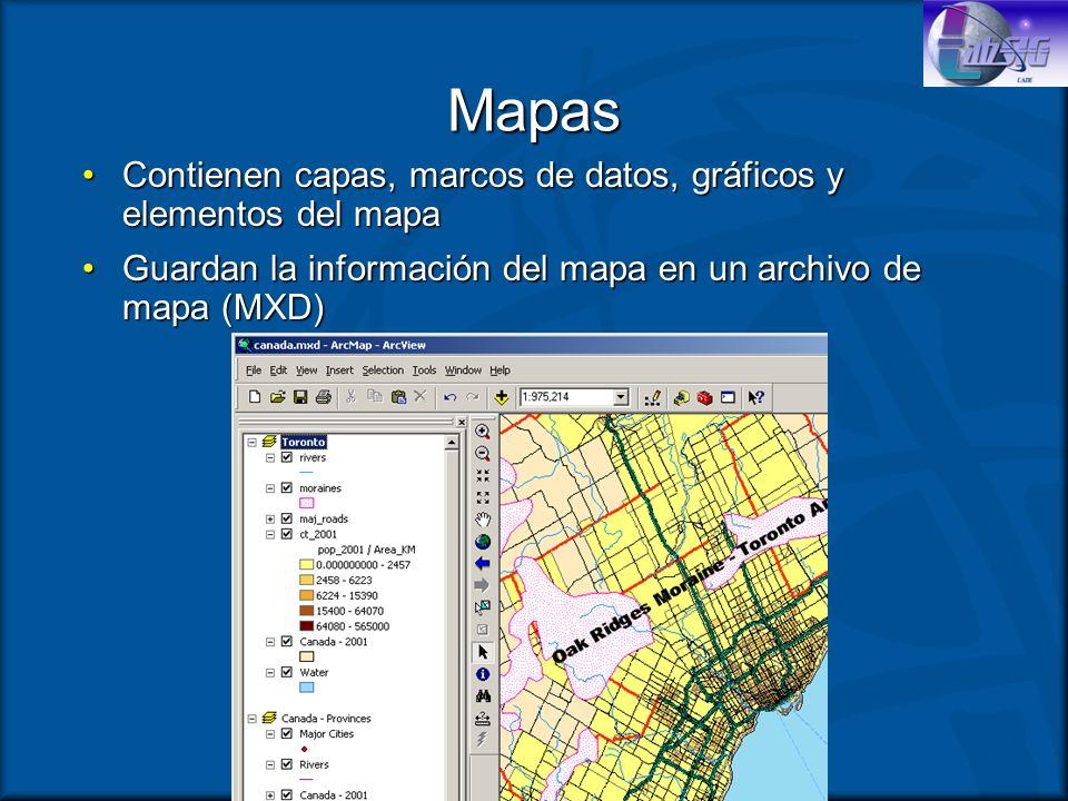 Mapas Contienen capas, marcos de datos, gráficos y elementos del mapa