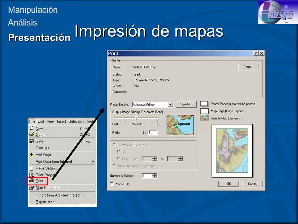 Impresión de mapas Presentación Manipulación Análisis