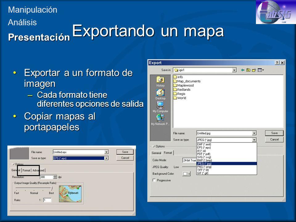 Exportando un mapa Presentación Exportar a un formato de imagen
