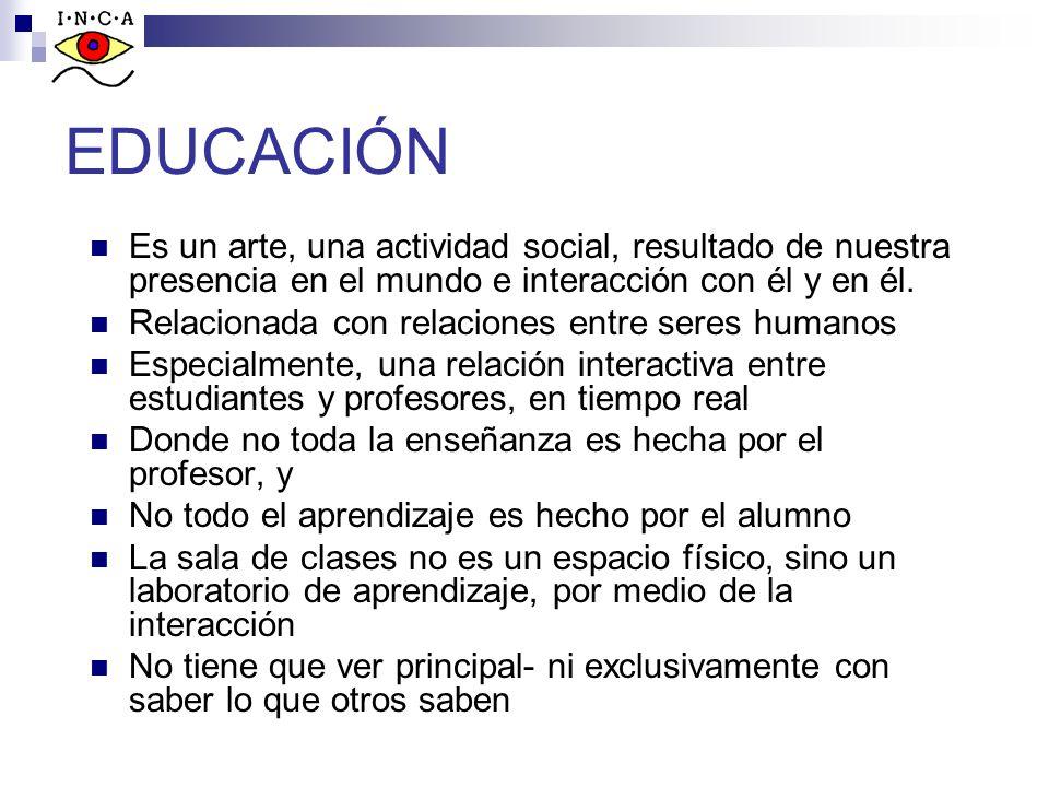 EDUCACIÓN Es un arte, una actividad social, resultado de nuestra presencia en el mundo e interacción con él y en él.