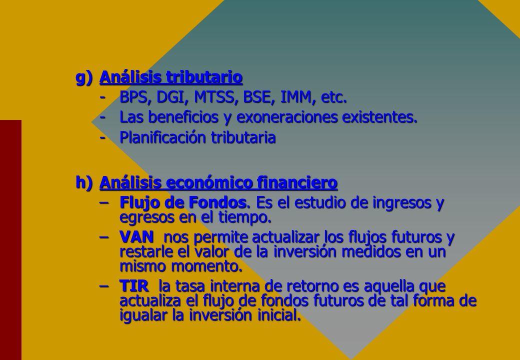 Análisis tributario BPS, DGI, MTSS, BSE, IMM, etc. Las beneficios y exoneraciones existentes. Planificación tributaria.