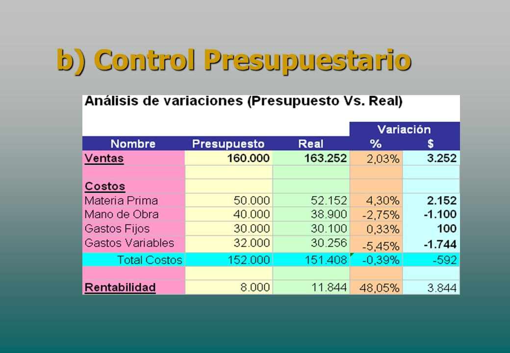 b) Control Presupuestario