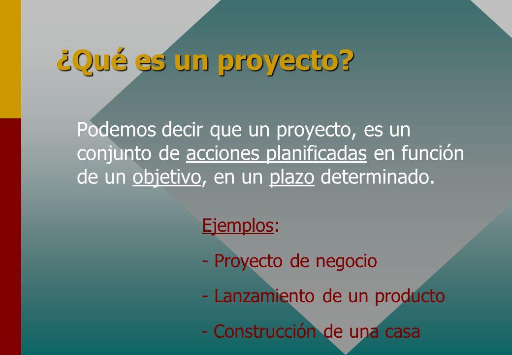 ¿Qué es un proyecto Podemos decir que un proyecto, es un conjunto de acciones planificadas en función de un objetivo, en un plazo determinado.