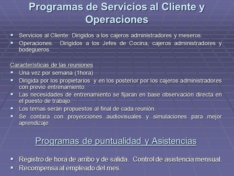 Programas de Servicios al Cliente y Operaciones