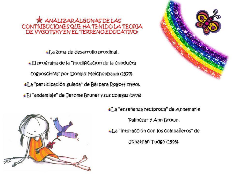 ANALIZAR ALGUNAS DE LAS CONTRIBUCIONES QUE HA TENIDO LA TEORIA DE VYGOTSKY EN EL TERRENO EDUCATIVO: