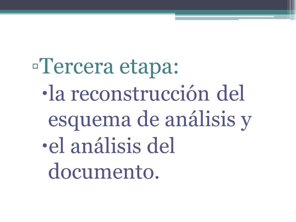Tercera etapa: la reconstrucción del esquema de análisis y