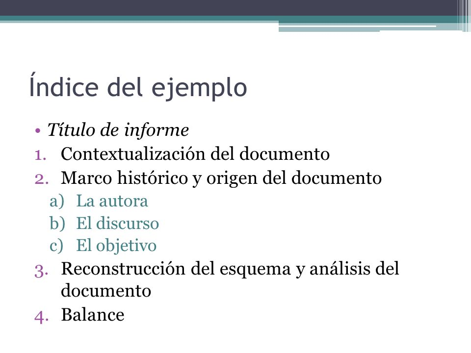 Índice del ejemplo Título de informe Contextualización del documento