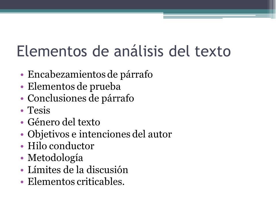 Elementos de análisis del texto