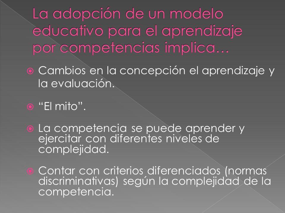 La adopción de un modelo educativo para el aprendizaje por competencias implica…