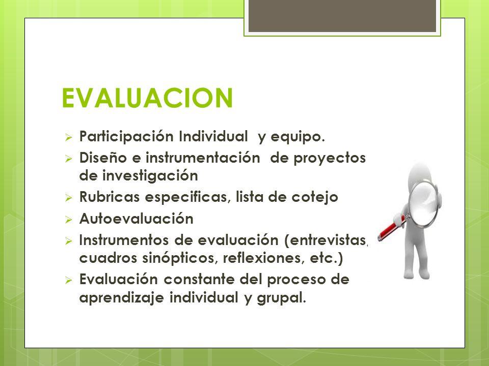 EVALUACION Participación Individual y equipo.