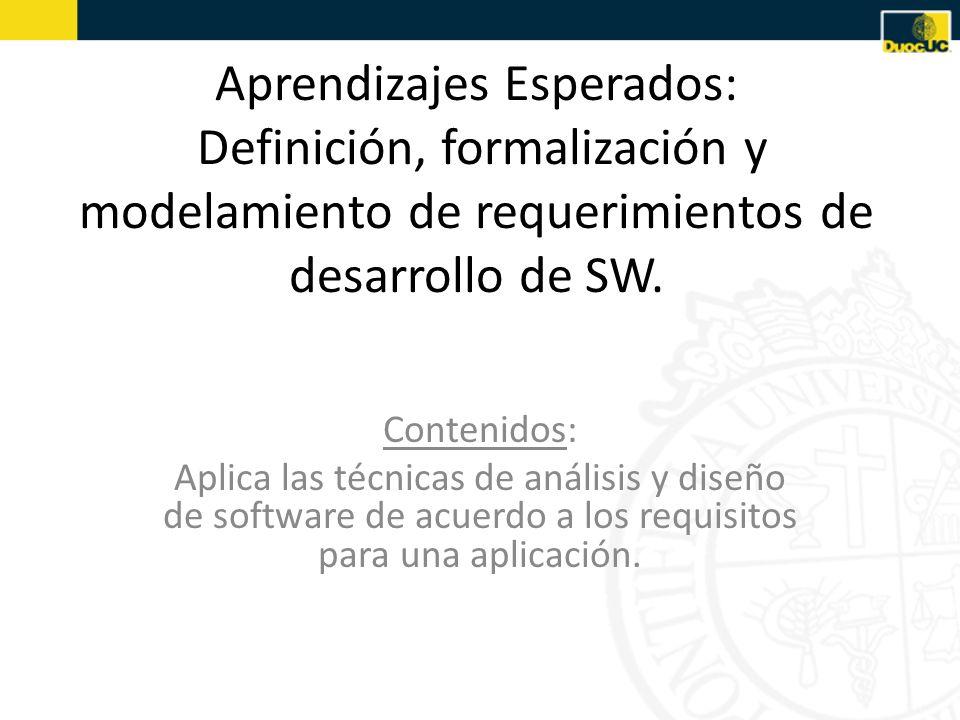 Aprendizajes Esperados: Definición, formalización y modelamiento de requerimientos de desarrollo de SW.