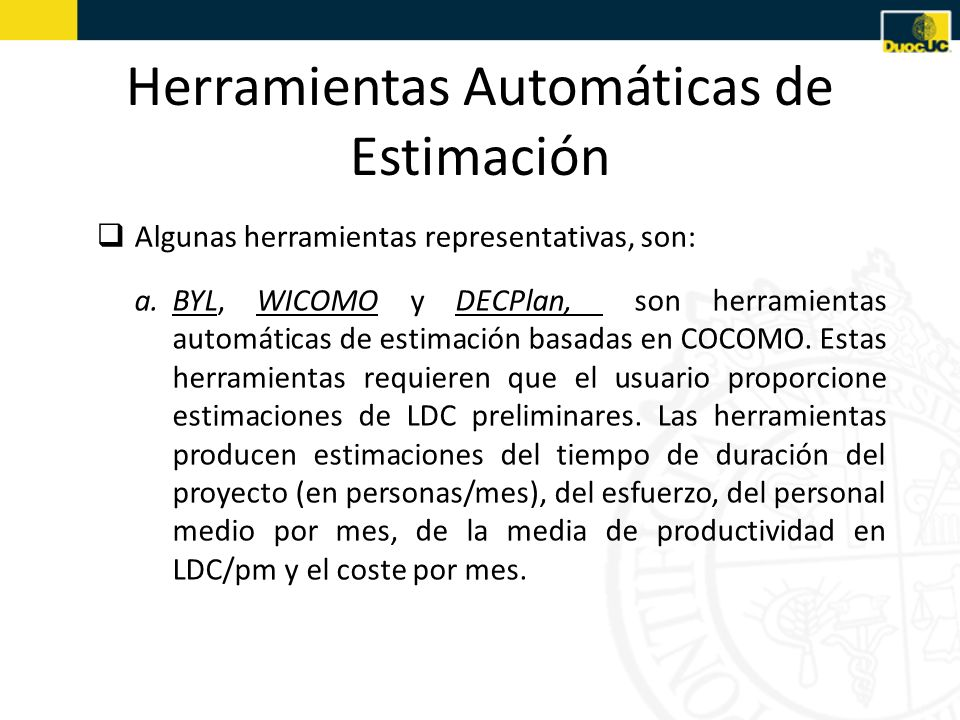 Herramientas Automáticas de Estimación