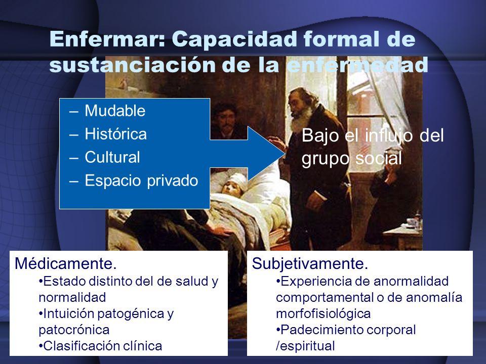 Enfermar: Capacidad formal de sustanciación de la enfermedad