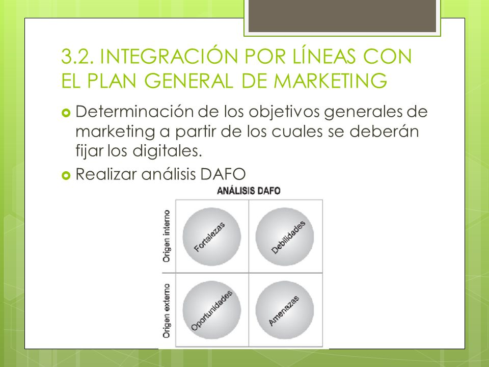3.2. INTEGRACIÓN POR LÍNEAS CON EL PLAN GENERAL DE MARKETING