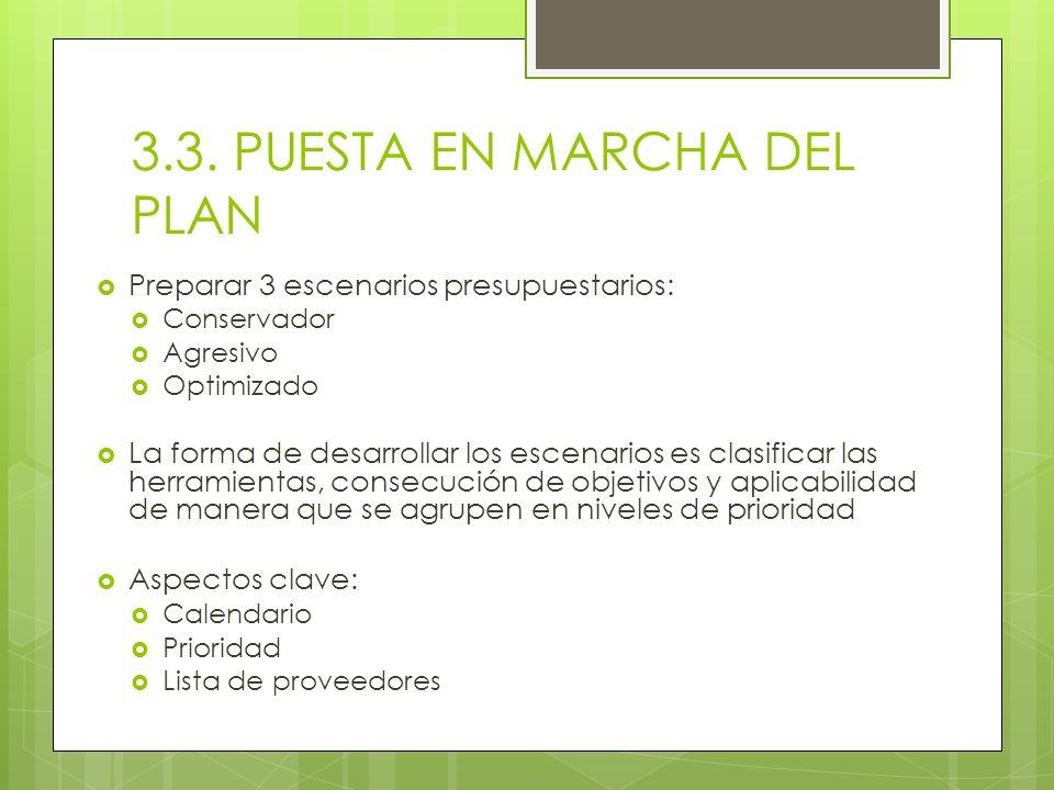 3.3. PUESTA EN MARCHA DEL PLAN