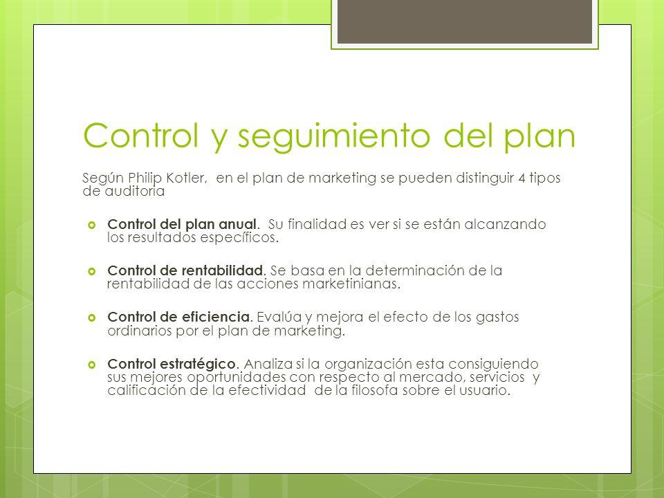 Control y seguimiento del plan