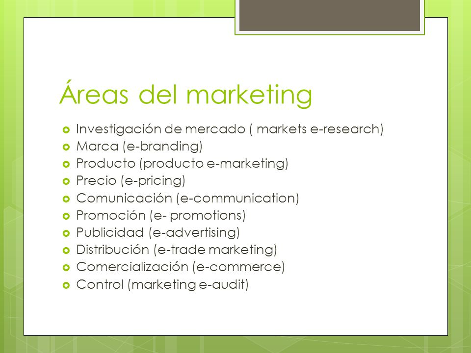 Áreas del marketing Investigación de mercado ( markets e-research)