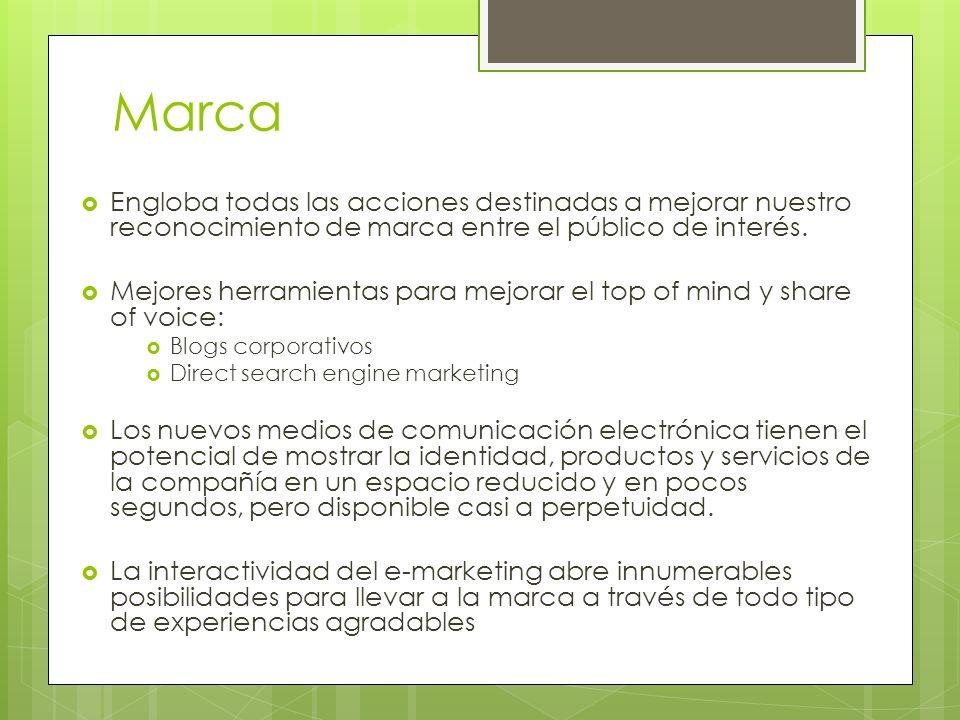 Marca Engloba todas las acciones destinadas a mejorar nuestro reconocimiento de marca entre el público de interés.