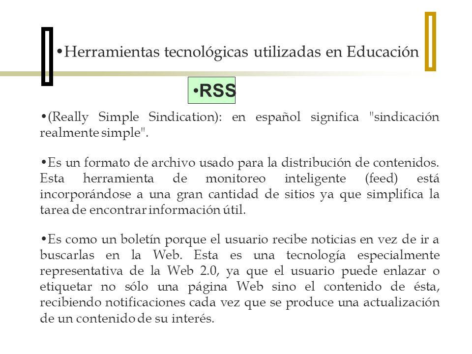 RSS Herramientas tecnológicas utilizadas en Educación
