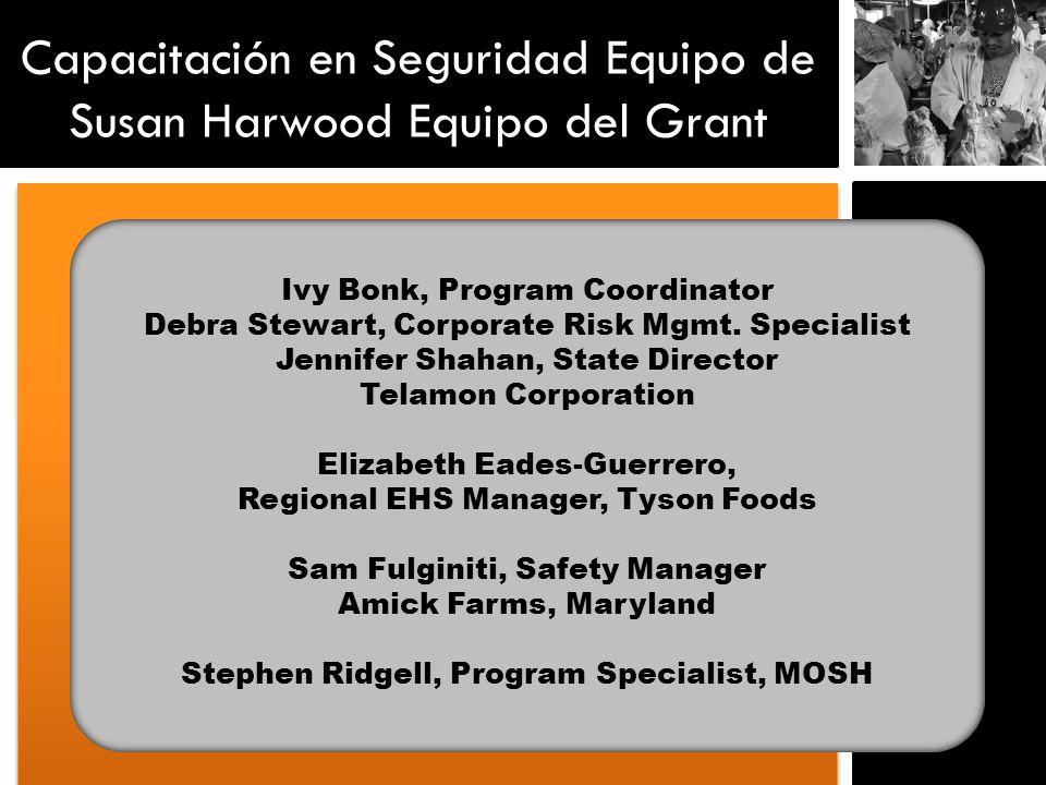 Capacitación en Seguridad Equipo de Susan Harwood Equipo del Grant