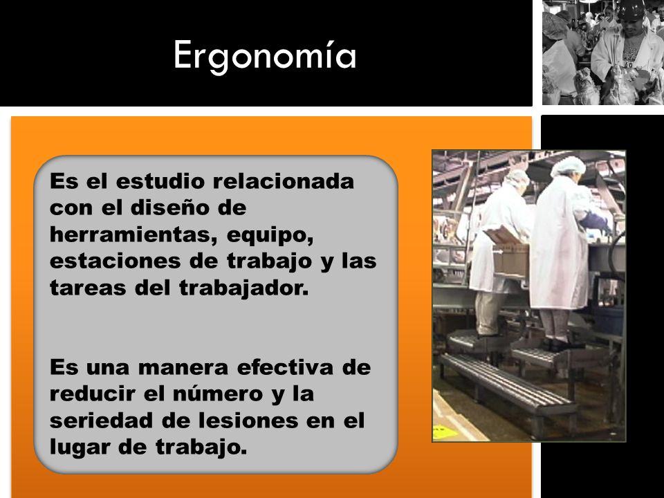 Ergonomía Es el estudio relacionada con el diseño de herramientas, equipo, estaciones de trabajo y las tareas del trabajador.