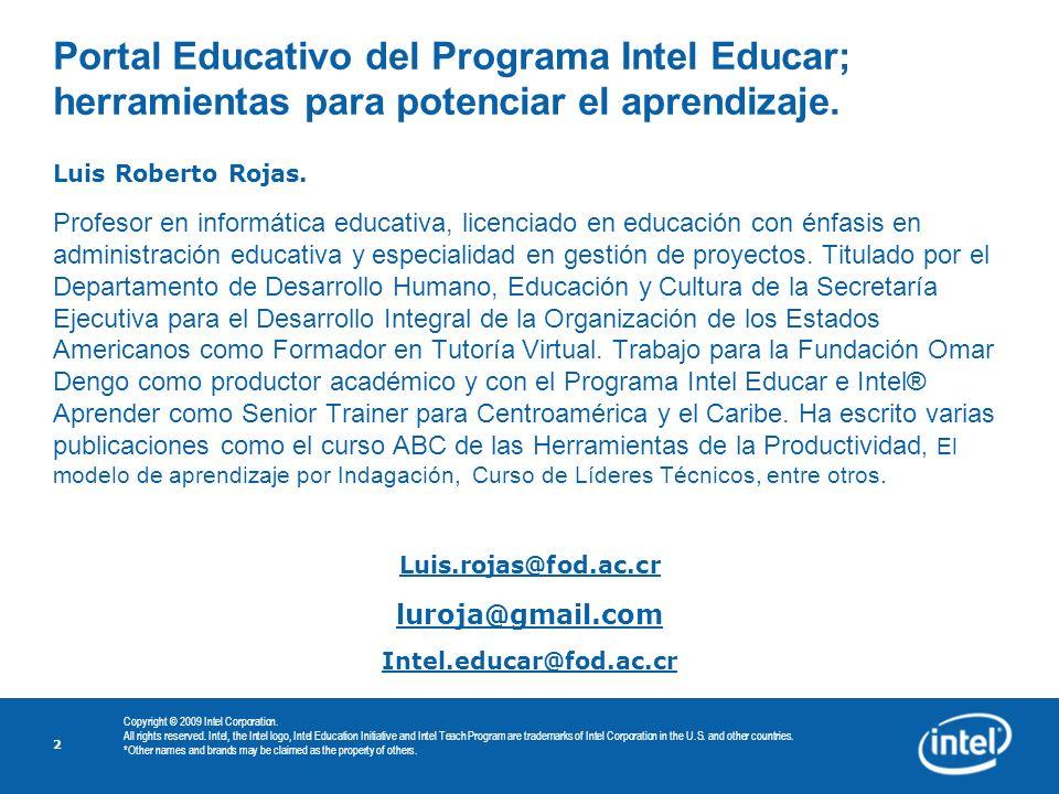 Portal Educativo del Programa Intel Educar; herramientas para potenciar el aprendizaje.