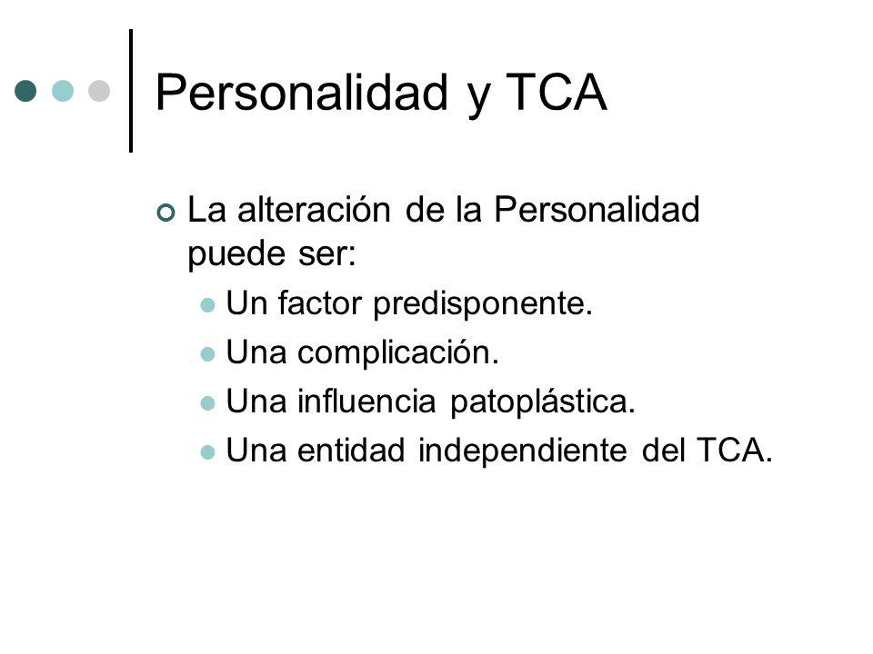 Personalidad y TCA La alteración de la Personalidad puede ser: