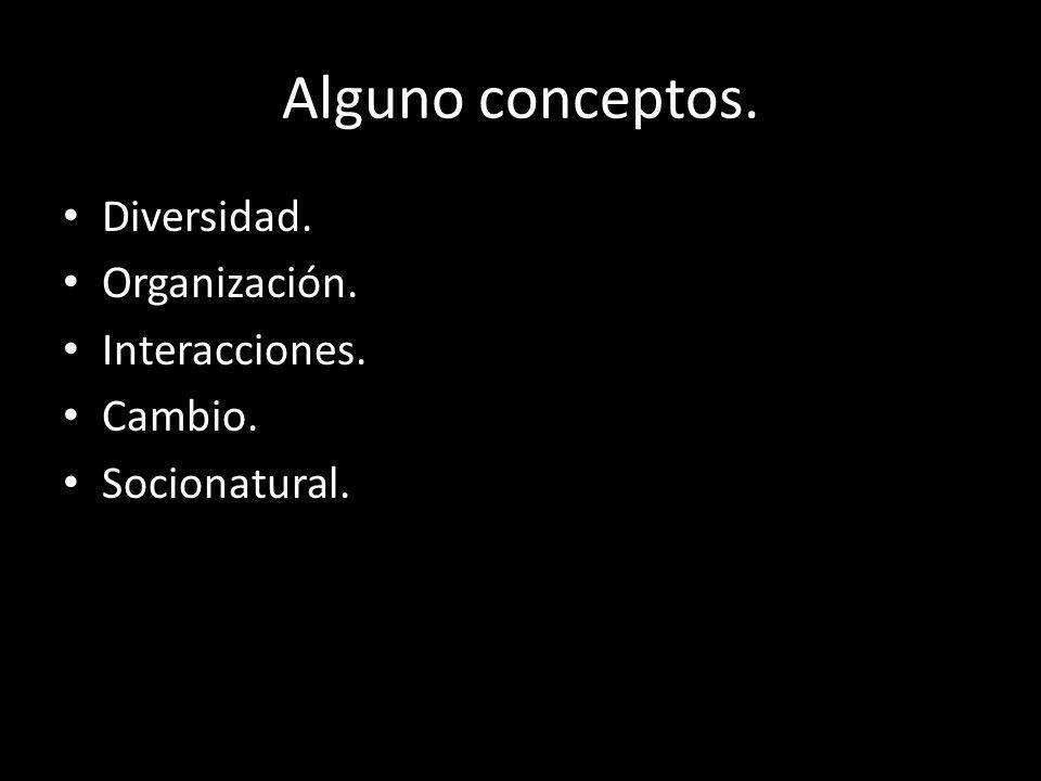 Alguno conceptos. Diversidad. Organización. Interacciones. Cambio.