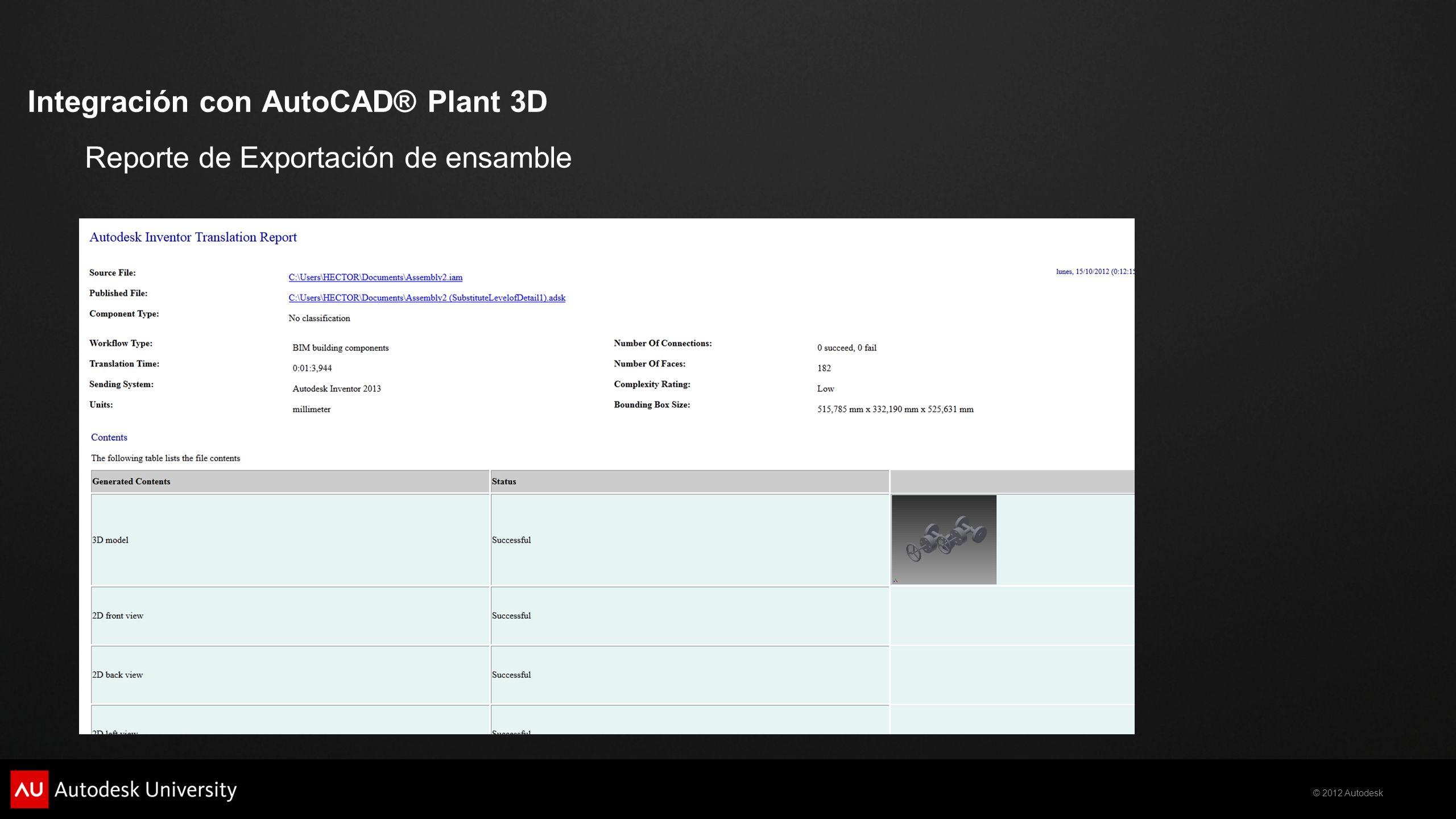 Integración con AutoCAD® Plant 3D